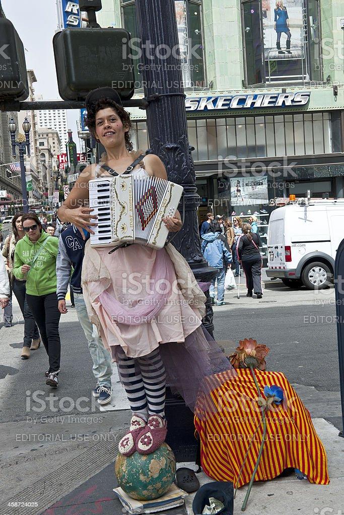 Woman Playing Accordion in San Francisco USA stock photo