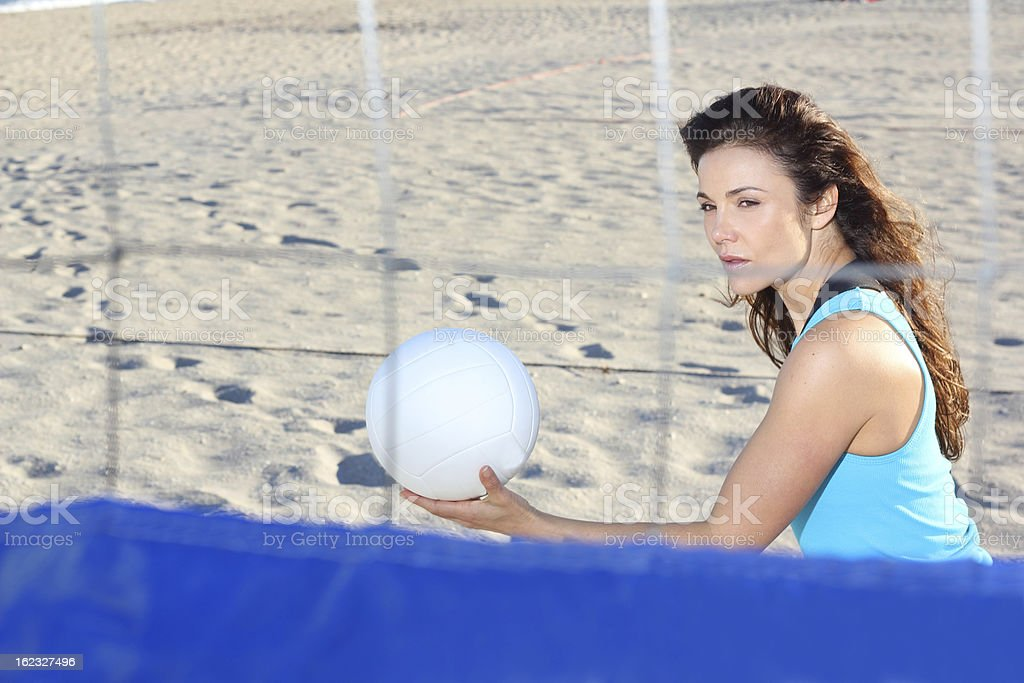 Woman Playing Beach Volleyball royalty-free stock photo