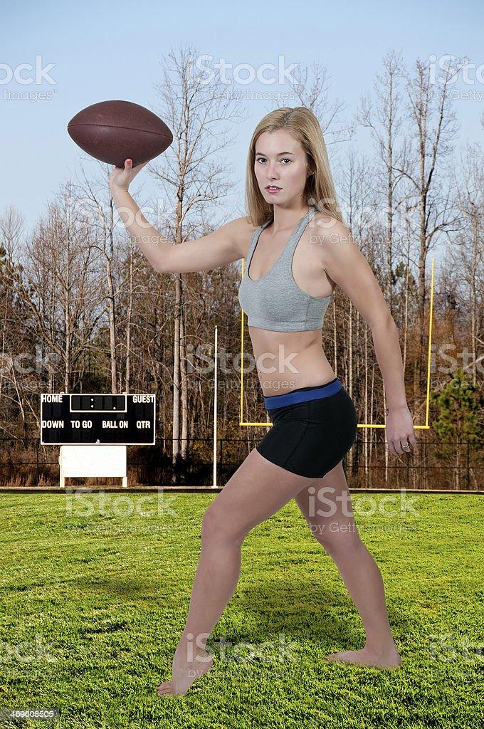 Woman Playing Football stock photo