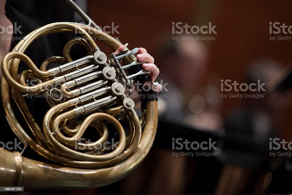 Woman playing french horn in a orchestre stock photo