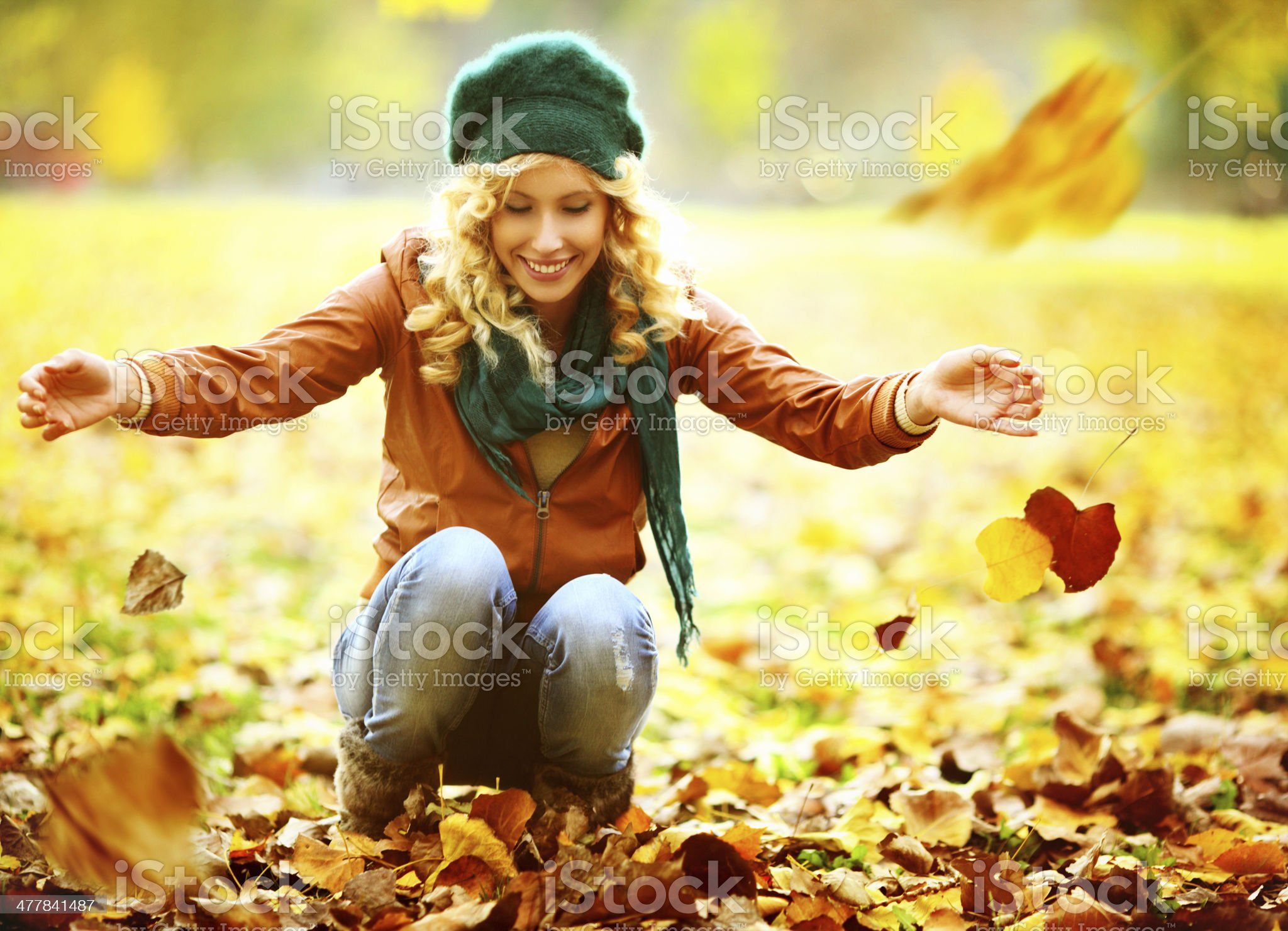 Woman playing in park. royalty-free stock photo