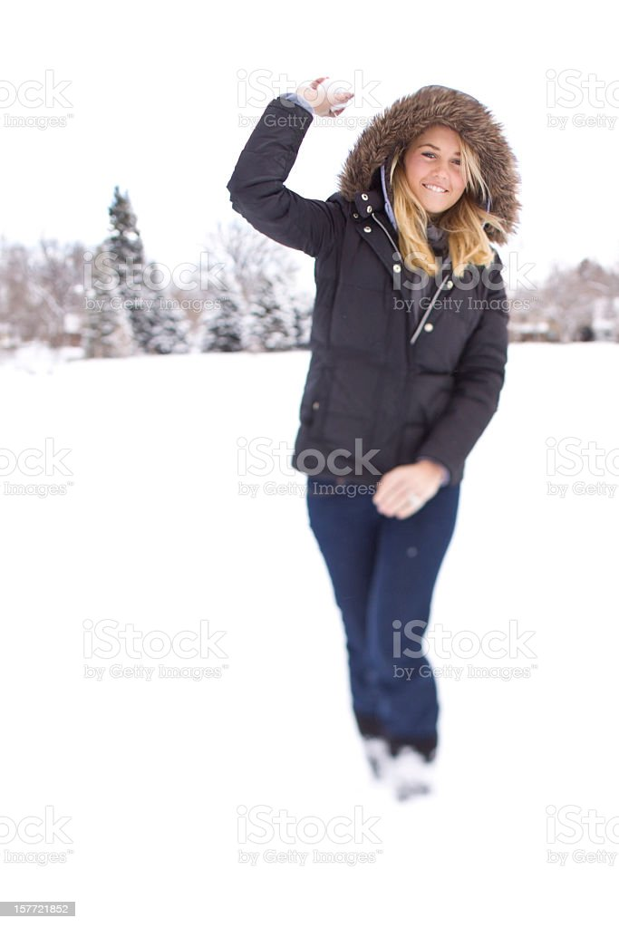 woman playing in snow royalty-free stock photo