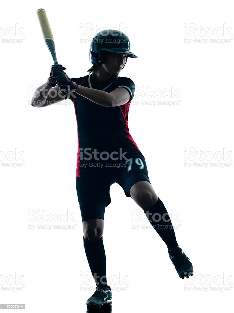 woman playing softball players silhouette isolated stock photo
