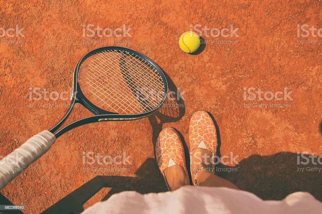 Woman playing tennis. stock photo