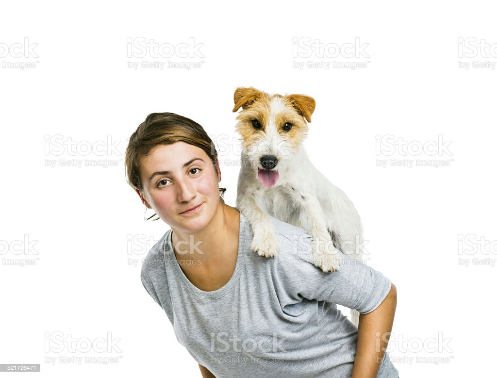 Woman playing with dog isolated stock photo