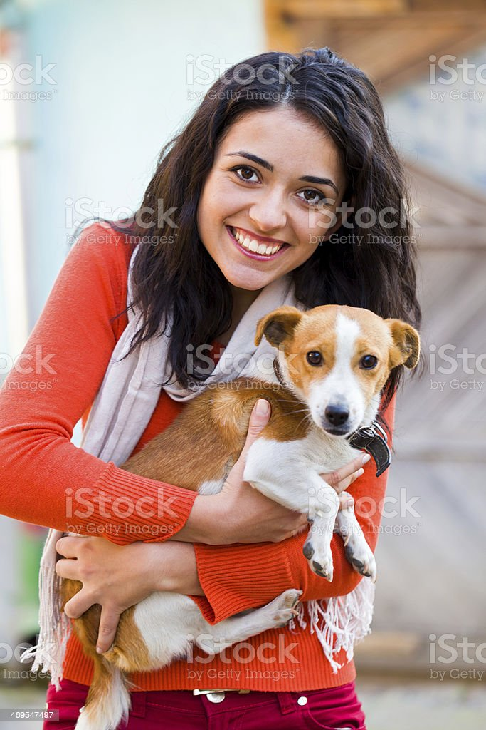 Woman Playing with Pet royalty-free stock photo