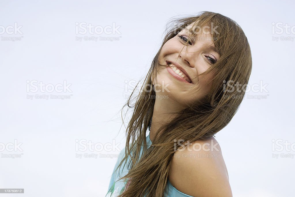 Woman playing with wind royalty-free stock photo