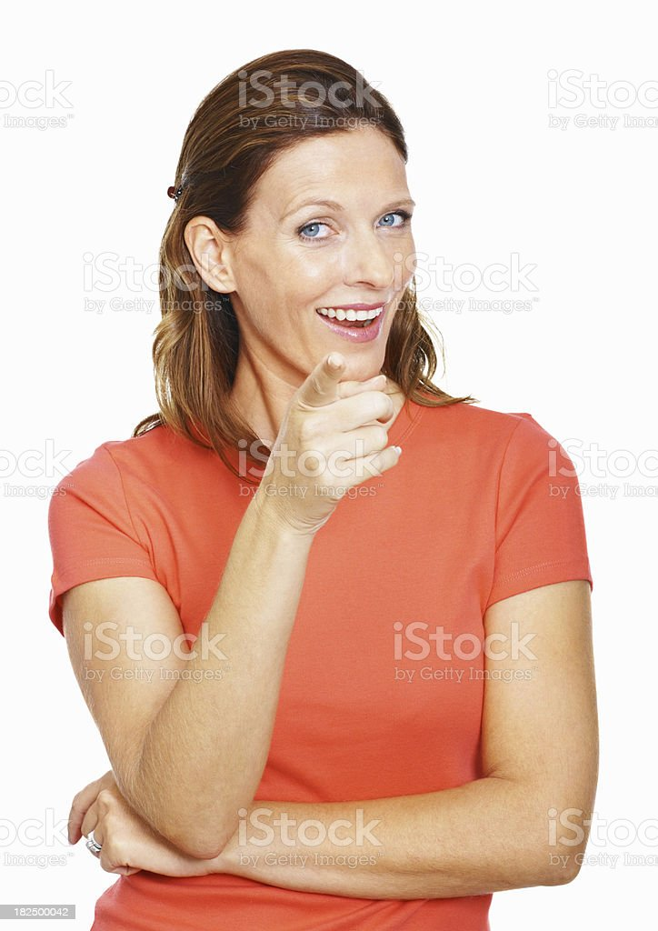 Woman pointing at you isolated on white background royalty-free stock photo
