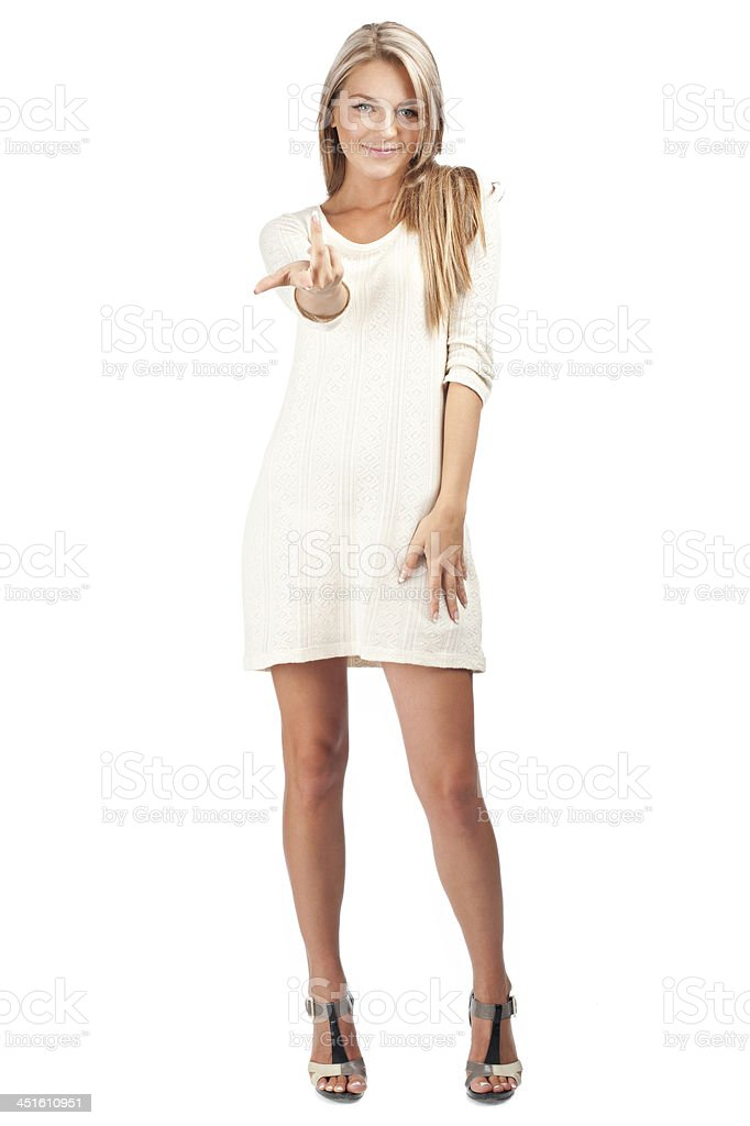 Woman pointing her finger at you stock photo