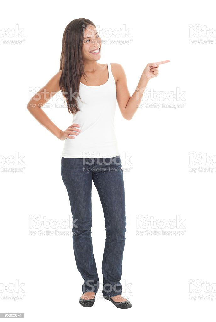 Woman pointing in full length royalty-free stock photo