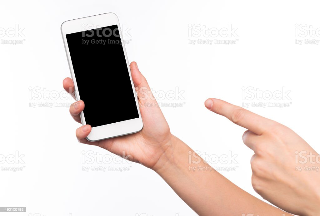 Woman pointing on mobile phone stock photo