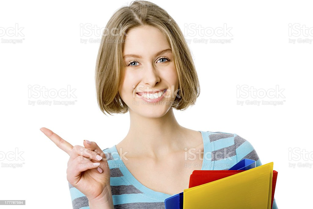 Woman pointing royalty-free stock photo