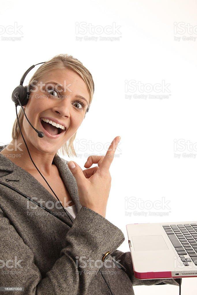 Mujer señalando foto de stock libre de derechos