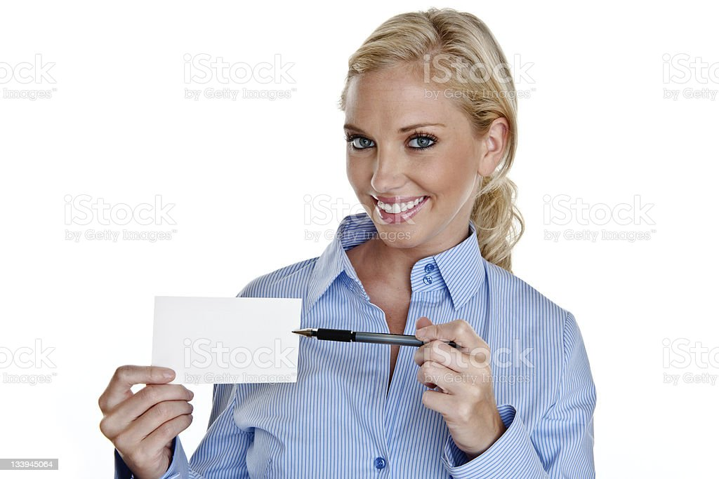 Woman pointing to copy space royalty-free stock photo