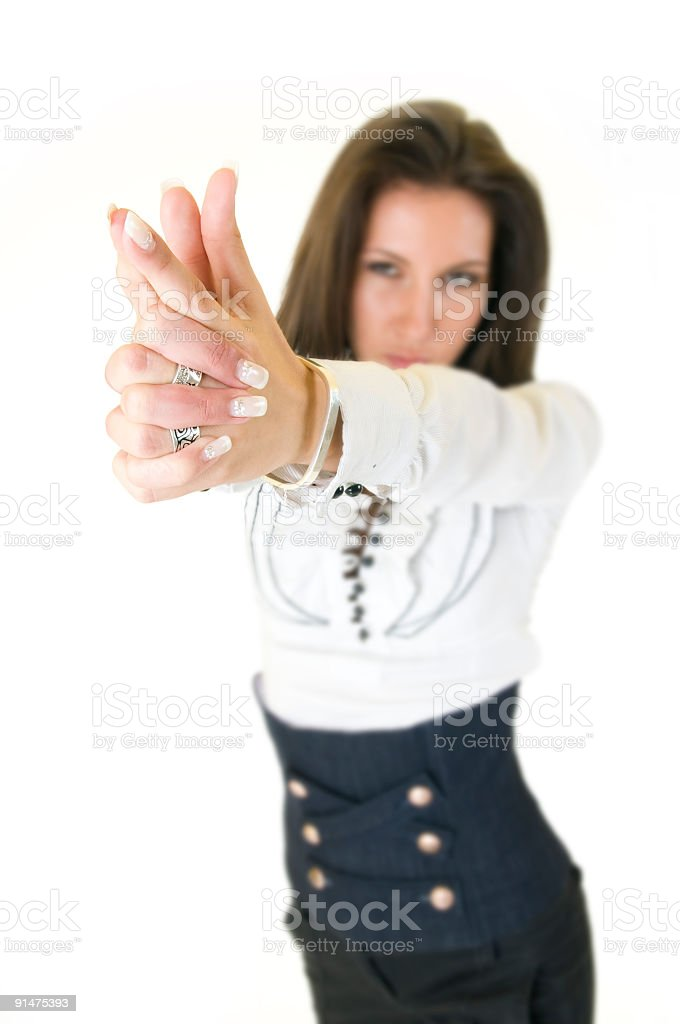 Woman pointing with fingers royalty-free stock photo
