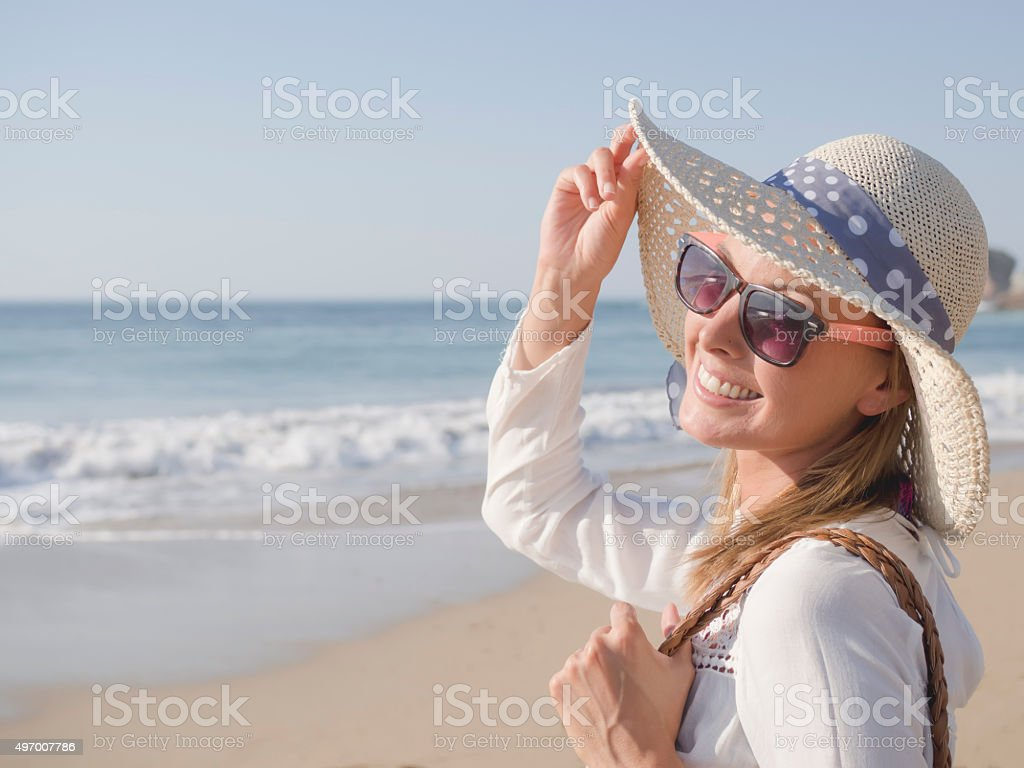 Woman Portrait at Beach stock photo