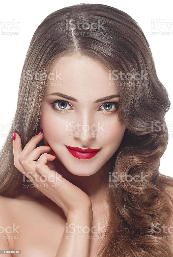 Woman portrait beauty red rose lips and nails stock photo