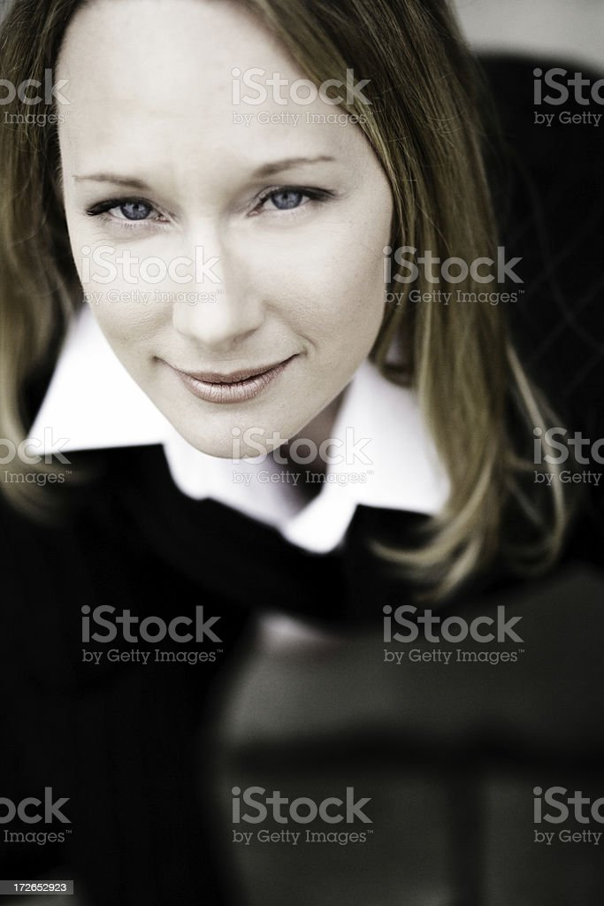 Woman portrait from above stock photo