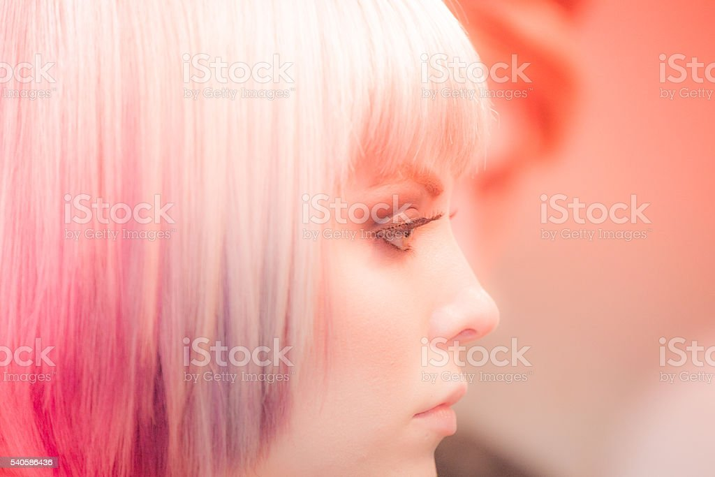woman portrait hairstyle stock photo
