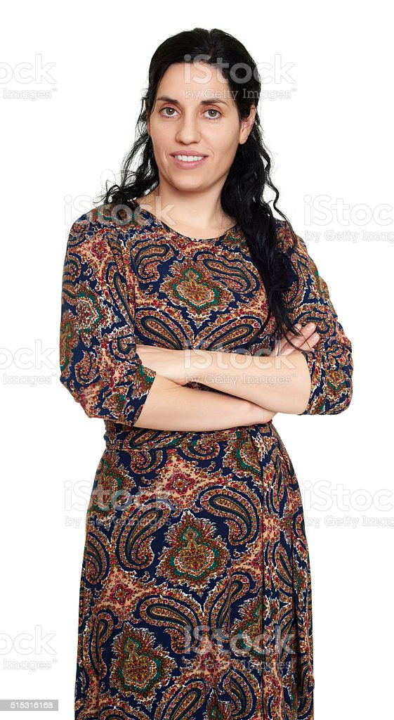 Woman portrait in eastern ethnic ornament dress on white stock photo