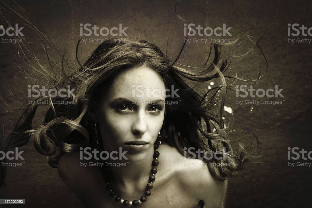 Woman portrait in Sepia royalty-free stock photo