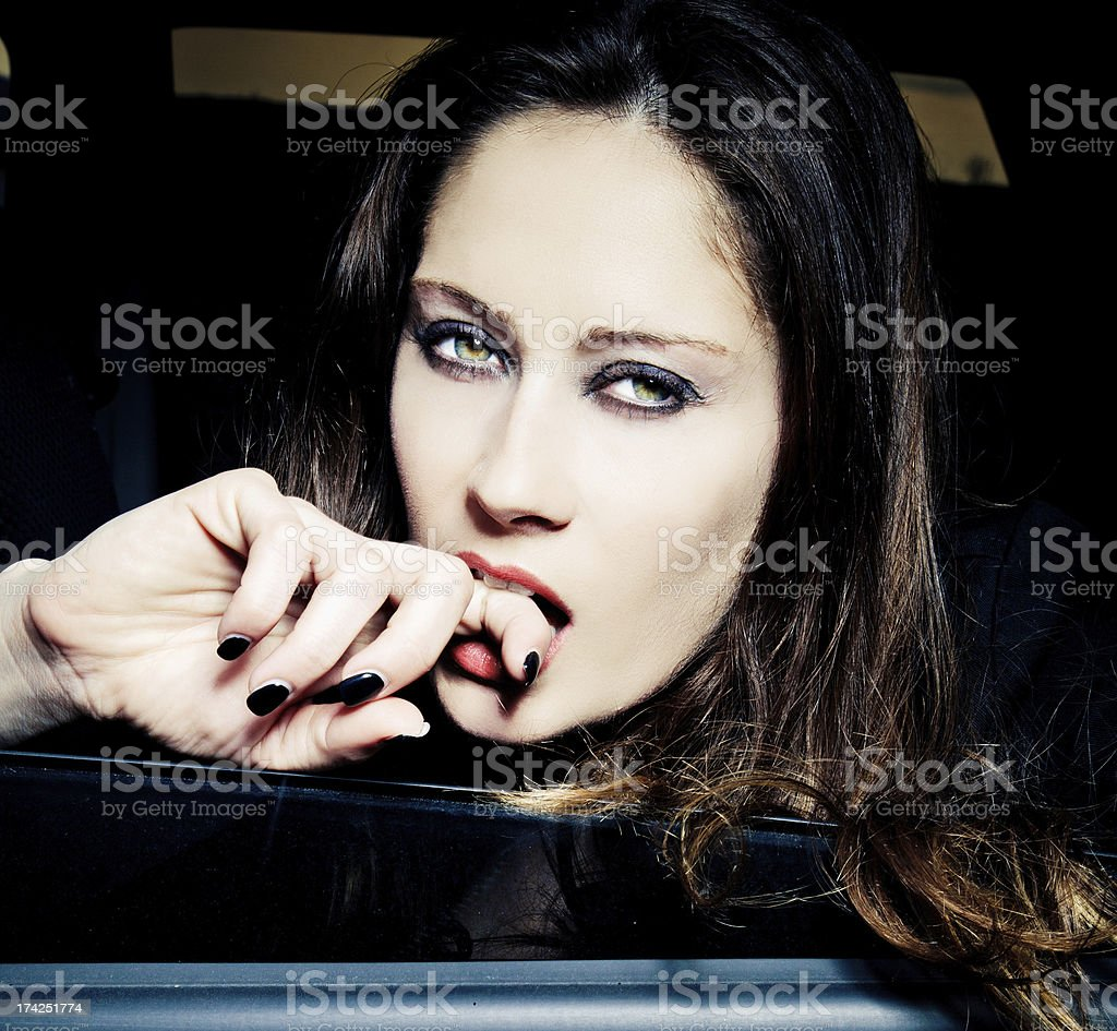 Woman portrait in the car royalty-free stock photo