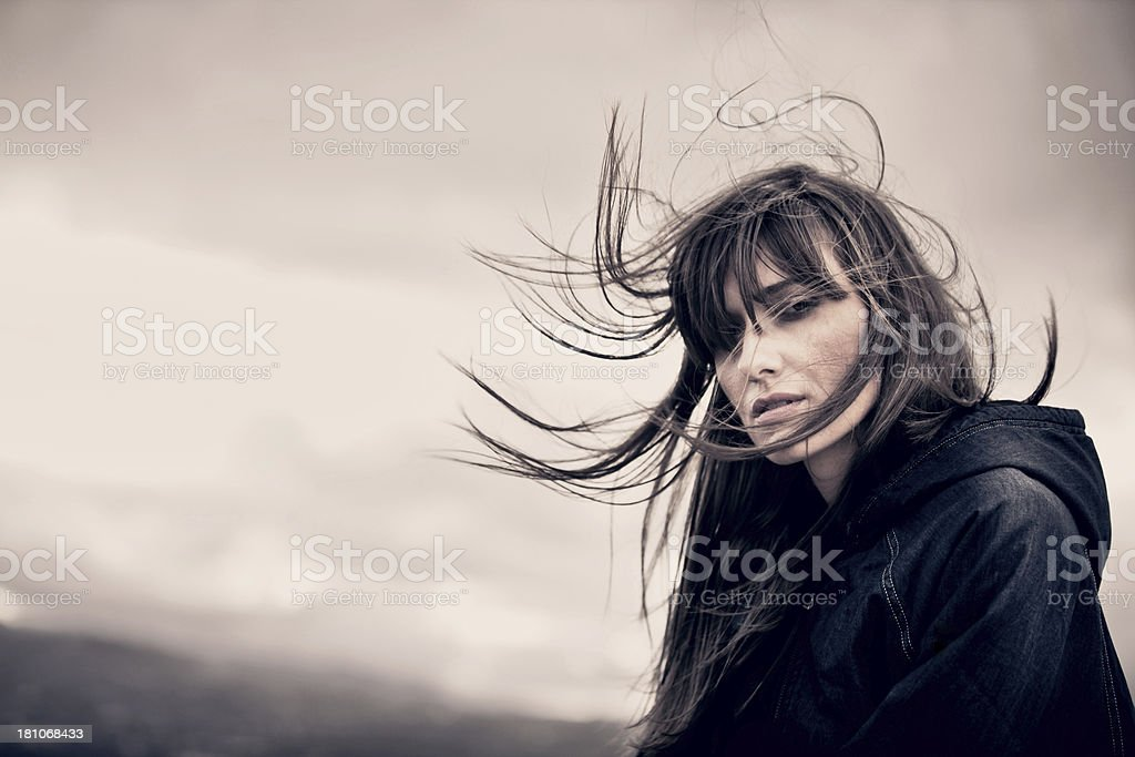Woman portrait on a windy day royalty-free stock photo