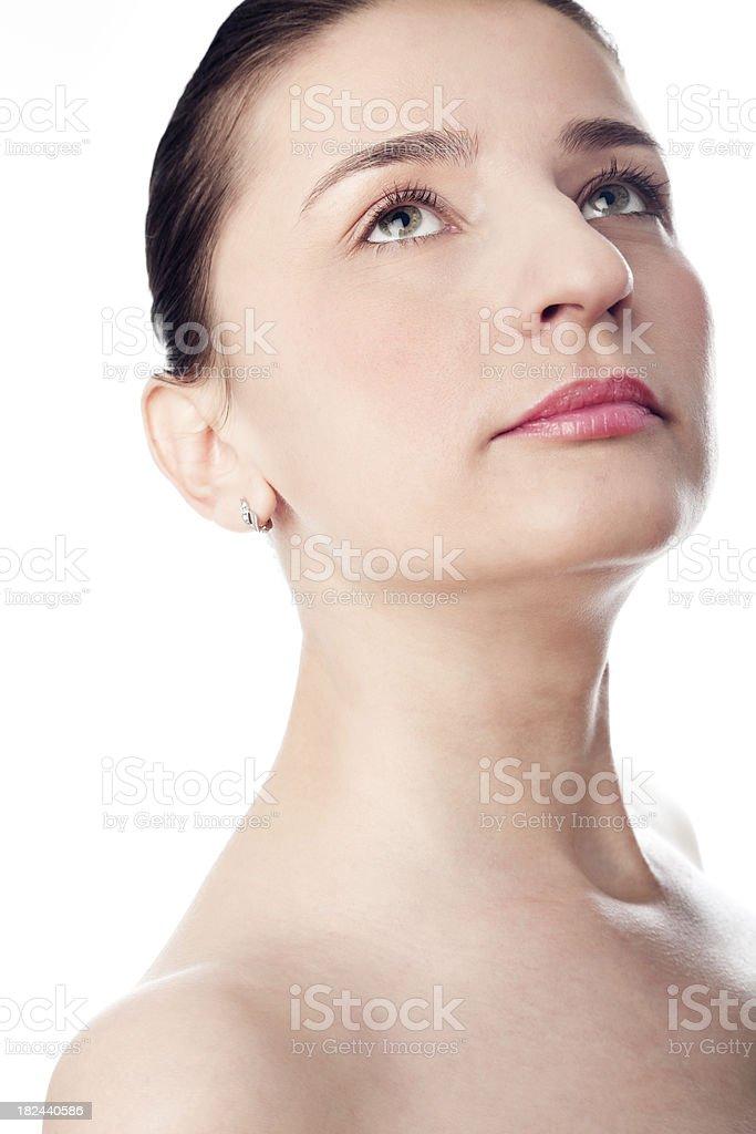 Woman portrait on white background stock photo