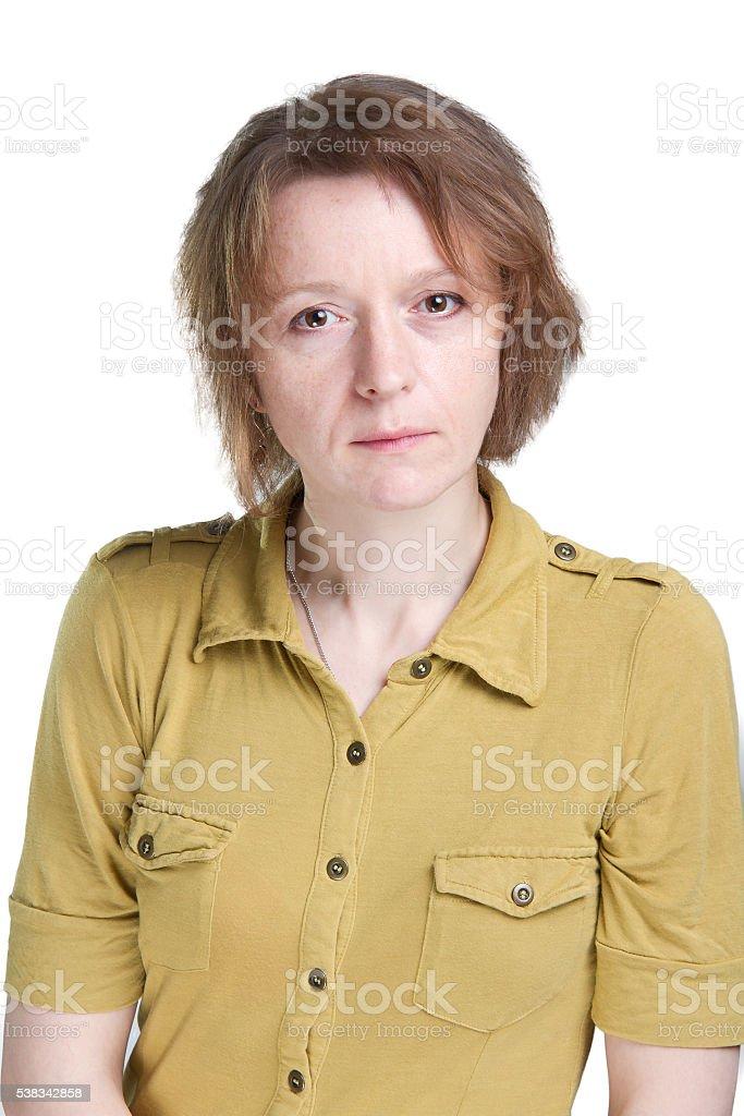Woman portrait tears in eyes stock photo
