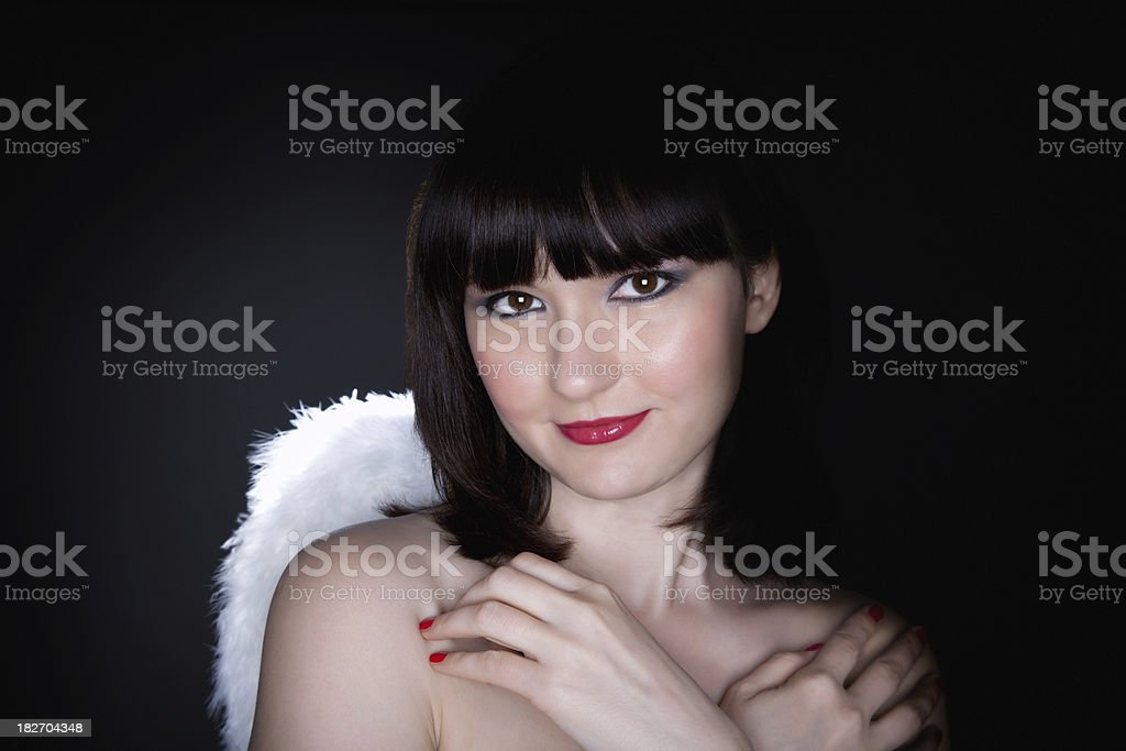 Woman portrait with angel wings stock photo