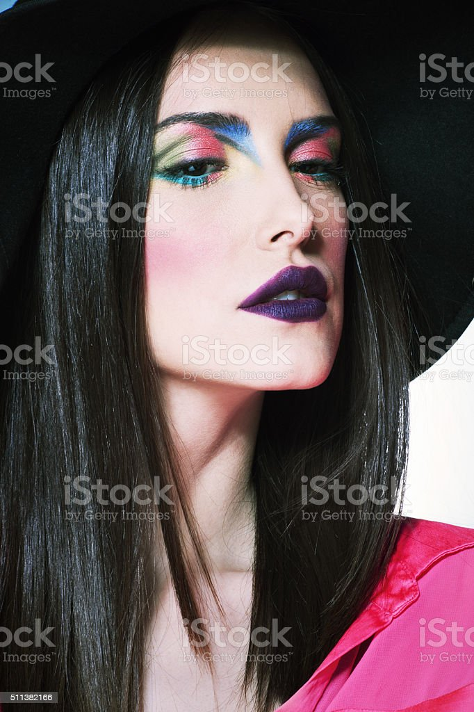 woman portrait with hat stock photo