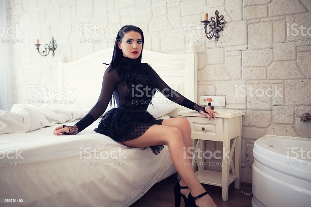 Woman Posing At Luxury Room stock photo