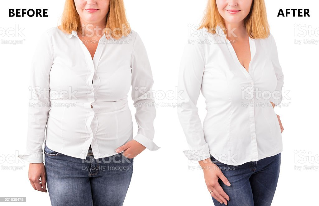 Woman posing before and after successful diet stock photo