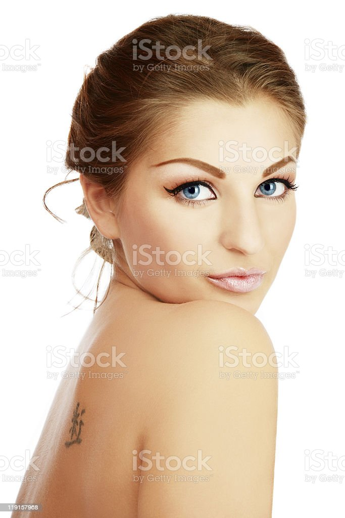 Woman posing for camera on white royalty-free stock photo