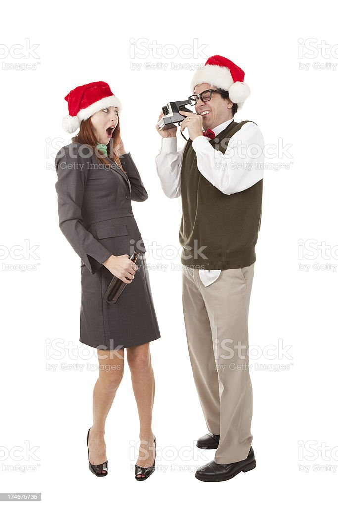 Woman Posing For Office Nerd At Christmas Party royalty-free stock photo