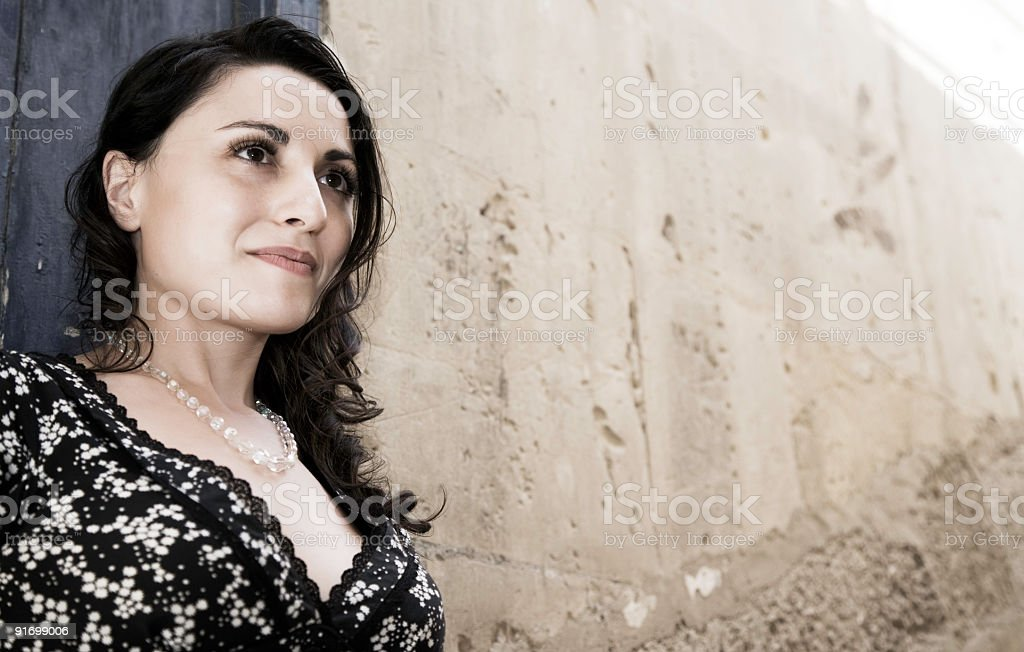 Woman posing in summer dress stock photo
