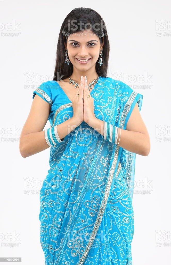 Woman posing namaskaram action royalty-free stock photo