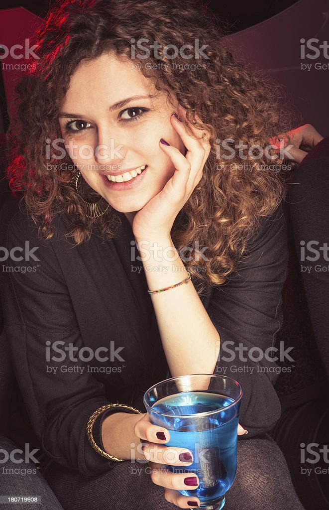 woman posing with drink royalty-free stock photo