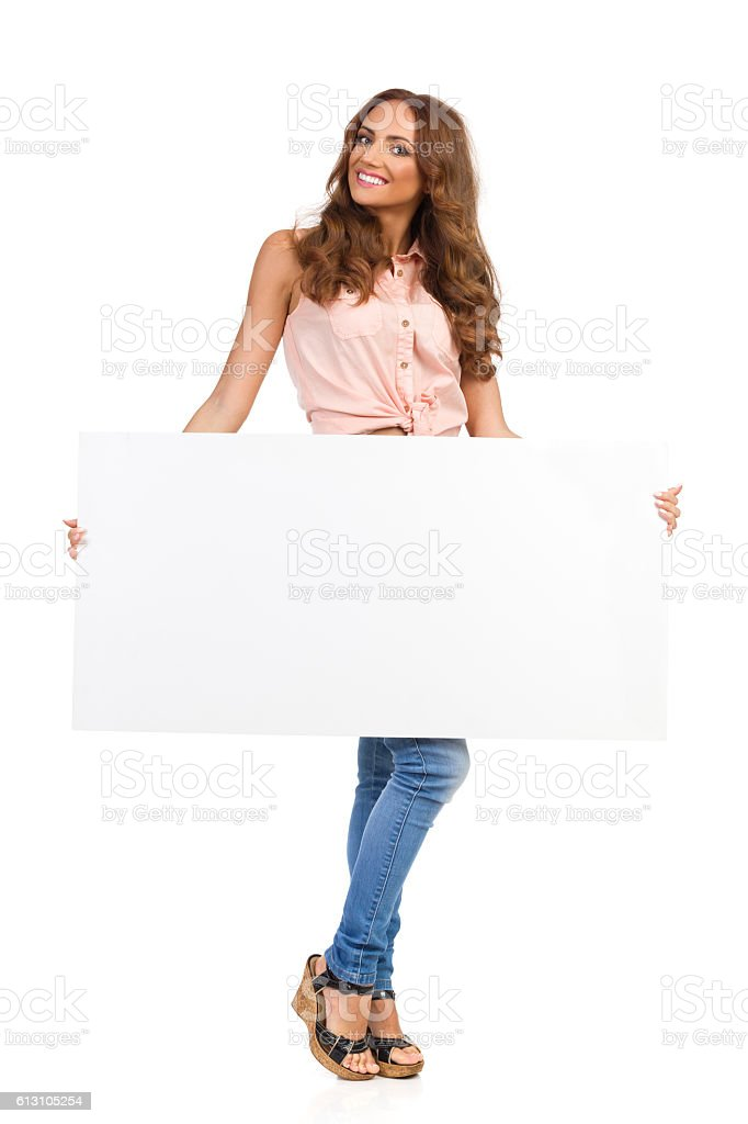 Woman Posing With Empty Placard stock photo