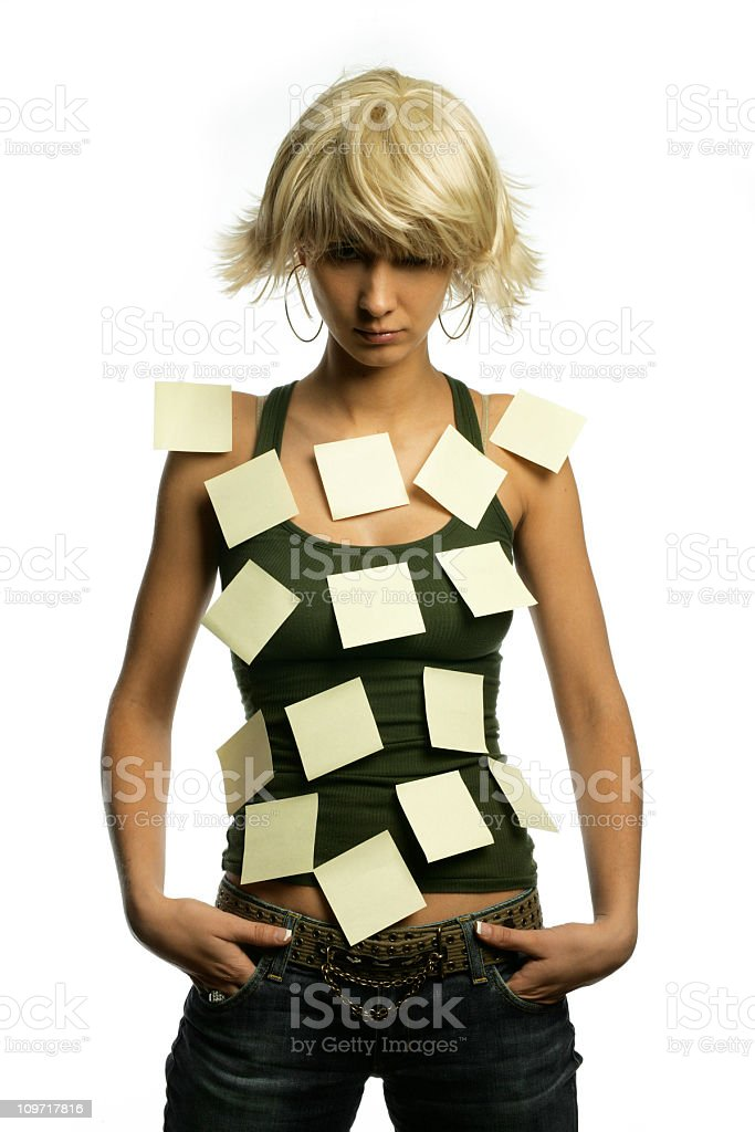 Woman Posing with Sticky Notes All Over Her Torso royalty-free stock photo
