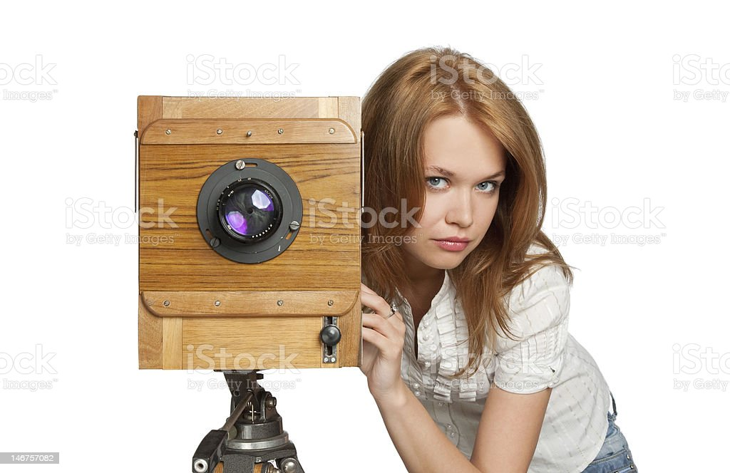 woman posing with vintage camera stock photo