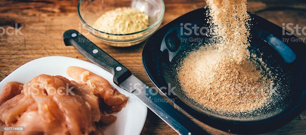 Woman Pouring flour stock photo