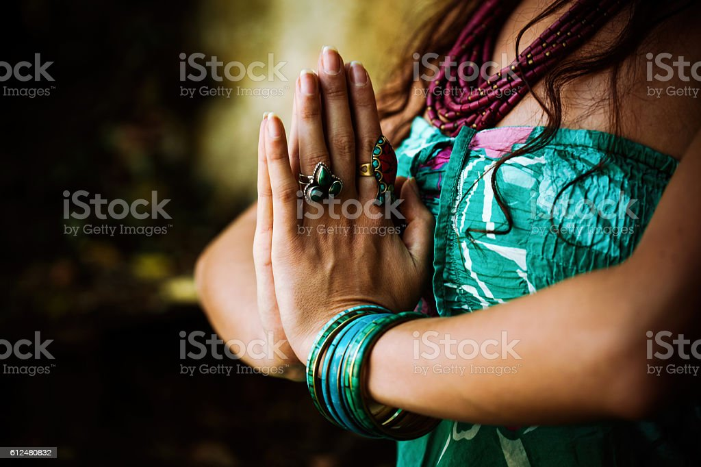 woman practice yoga outdoor stock photo