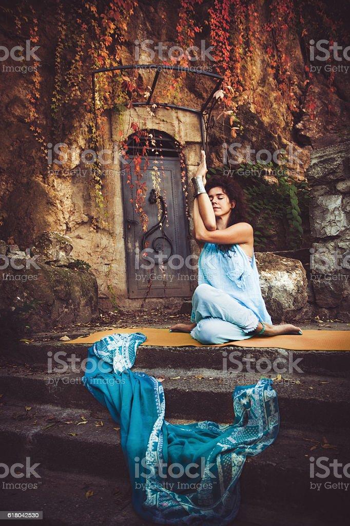 woman practice yoga outdoor stock photo