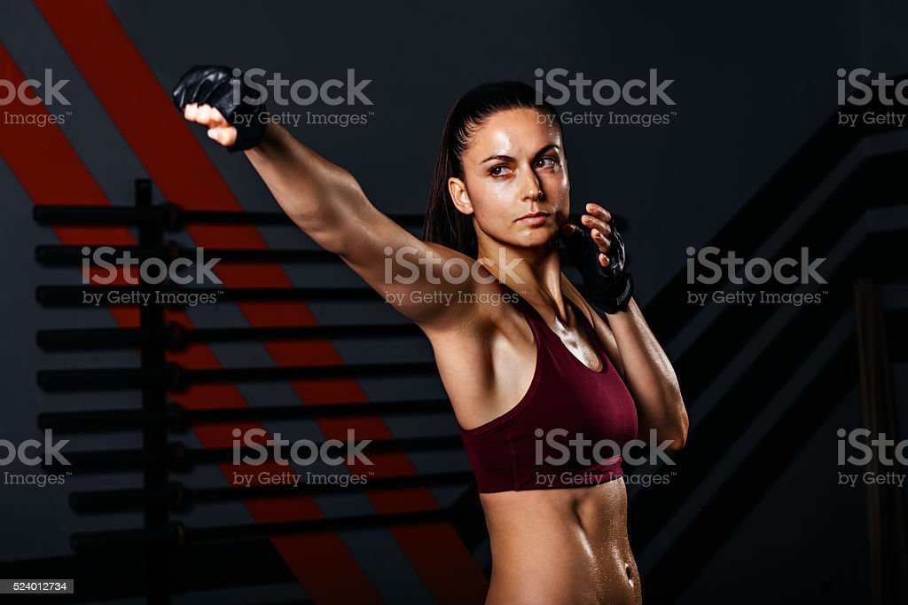 Woman Practices Tae Bo stock photo
