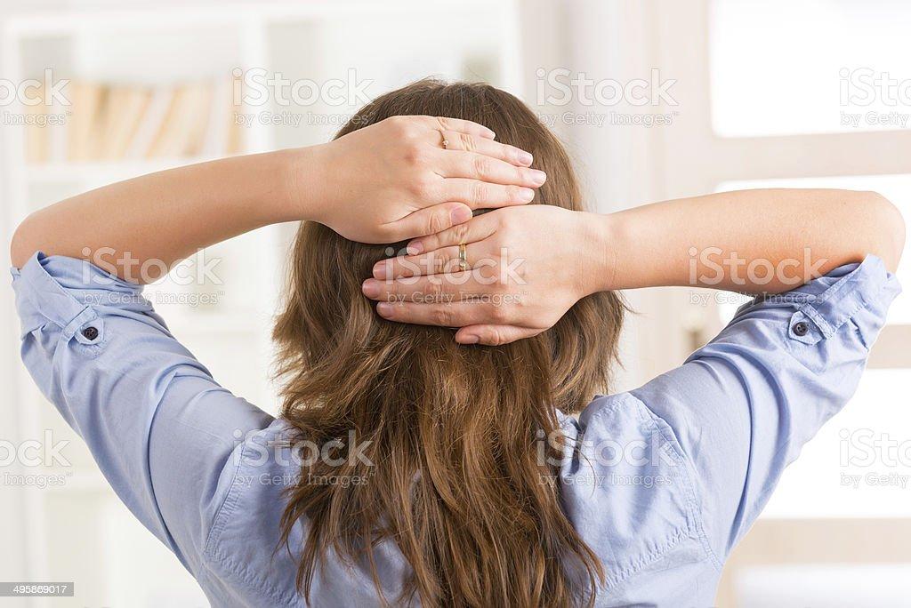Woman practicing energy medicine stock photo