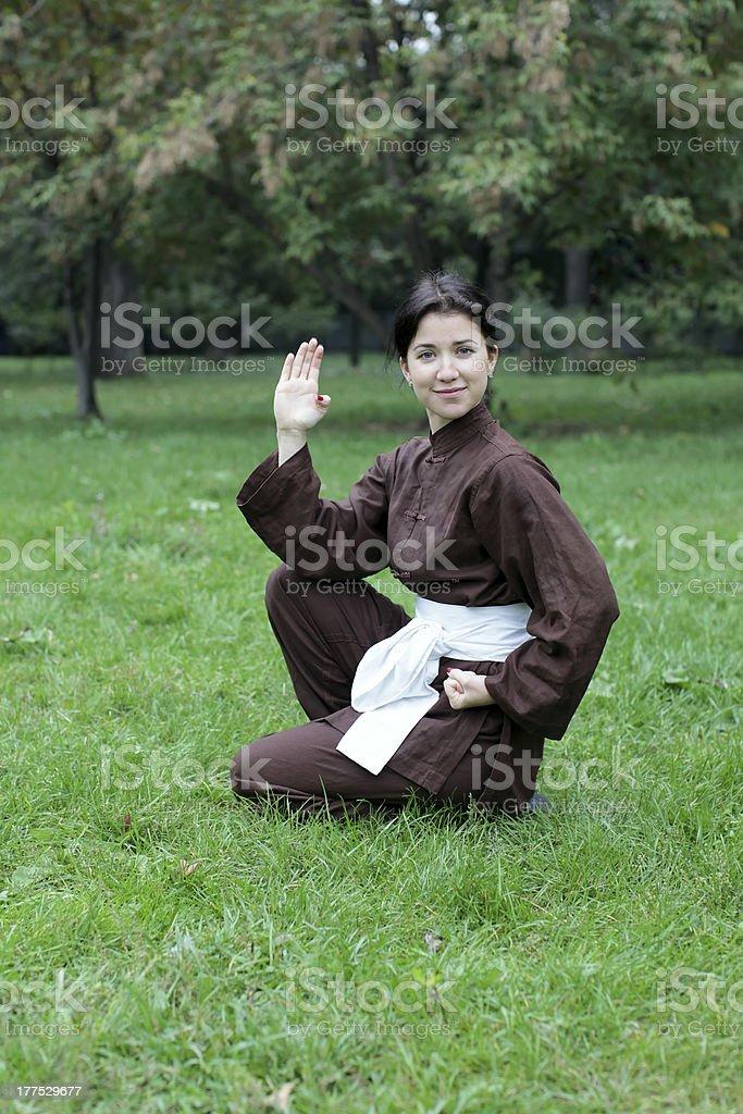Woman practicing kung fu royalty-free stock photo