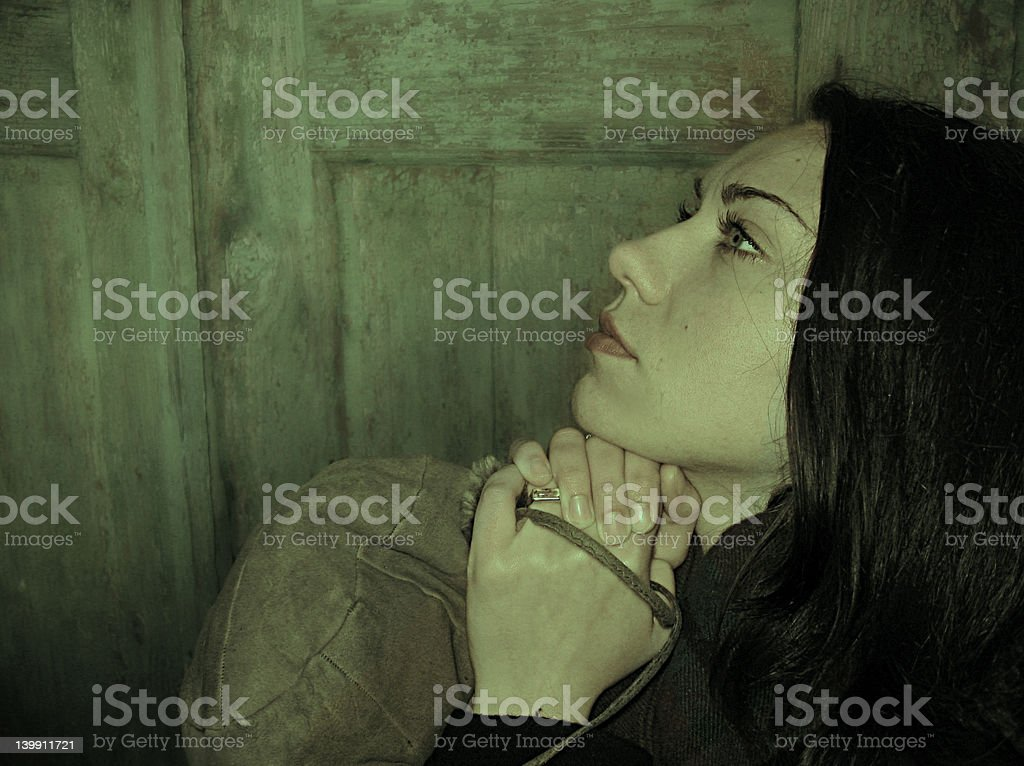 Woman praying for help royalty-free stock photo