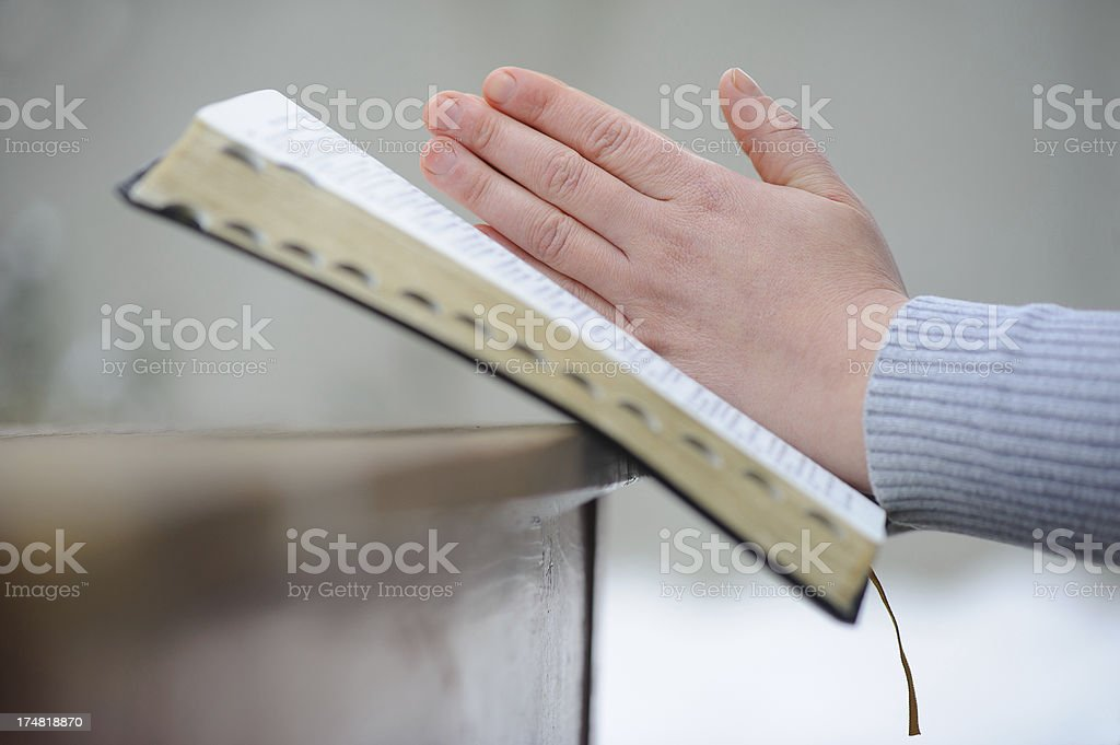 Woman praying royalty-free stock photo