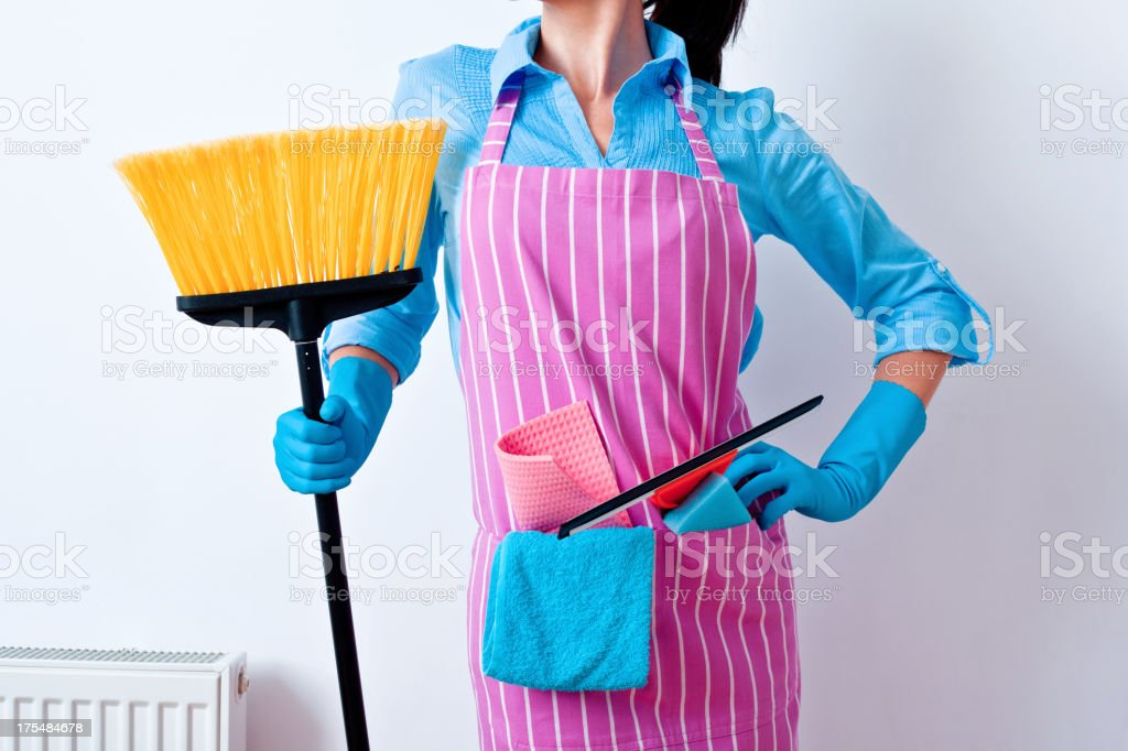 Woman Prepared to Clean House stock photo